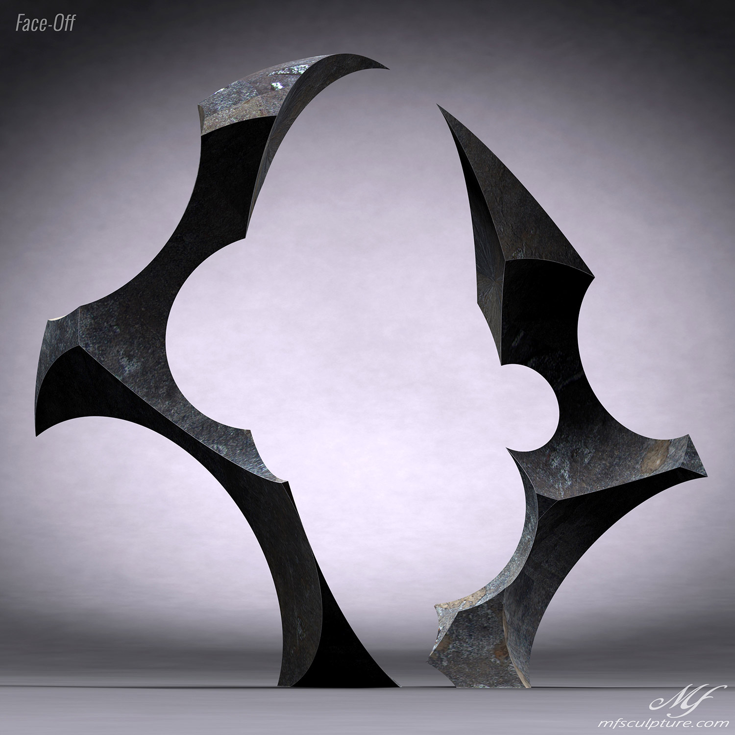 Contemporary Sculpture Abstract Face Off 1